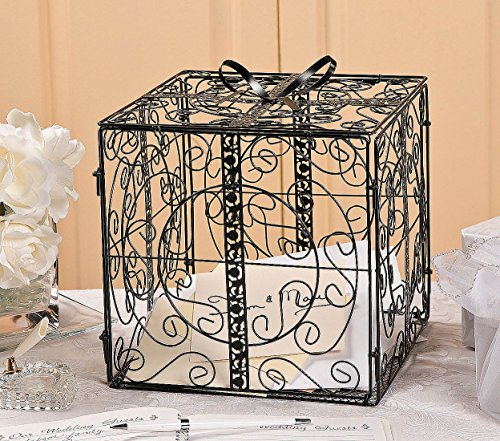 Black Gift Box Card Holder Wedding Bridal Wishing Well (Wishing Well Wedding Reception)