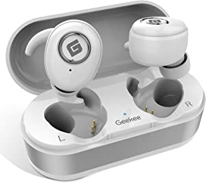 True Wireless Earbuds Bluetooth 5.0 Headphones, in-Ear TWS Stereo Headset w/Mic Extra Bass IPX5 Sweatproof Low Latency Instant Pairing 15H Battery Charging Case Noise Cancelling Earphones (Silver)