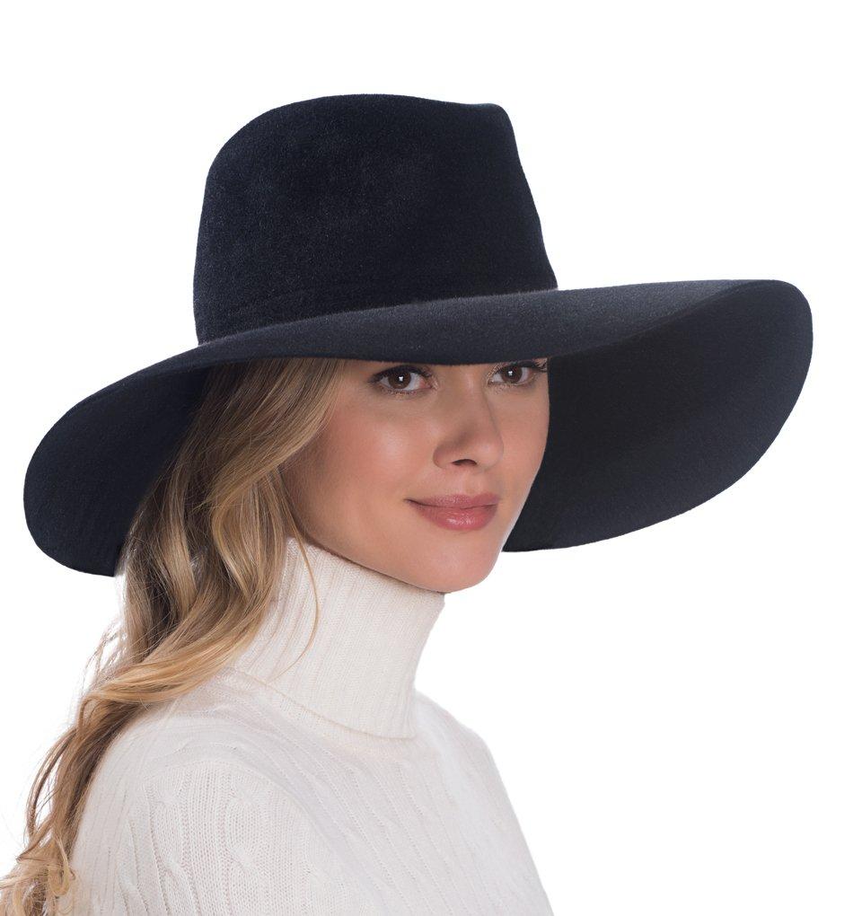 Eric Javits Luxury Fashion Designer Women's Headwear Hat - Velour Floppy - Black by Eric Javits
