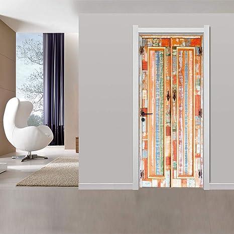 Vintage naranja puerta de madera puerta pegatinas sala de estar puertas cartel decorativo impermeable arte papel pintado para dormitorio: Amazon.es: Bebé