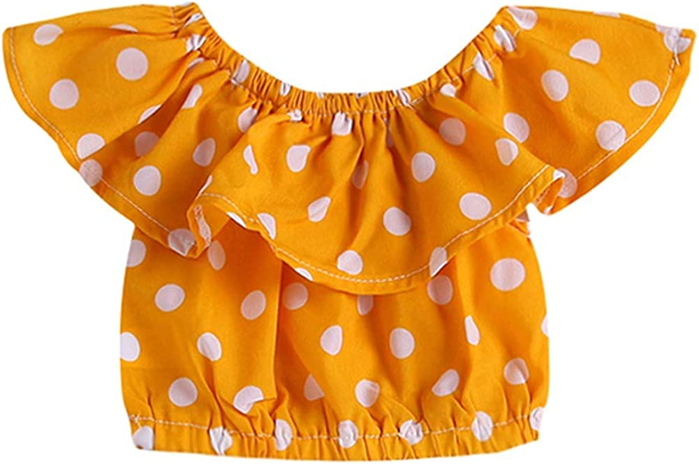 Toddler Baby Girls Yellow Dot Summer Tops Lace Blue Shorts Pants with Headband Outfits Sets