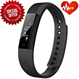 "Heart Rate Fitness Tracker,CAMTOA ID115 Activity Tracker/Bluetooth4.0Smart Wristband Bracelet/Sport Smartwatch/Pedometer 0.86""OLED,IP67Waterproof-Calorie/Sleep/Step/Heart Rate Tracking,Call Notification(Facebook/Twitter/Message),Sedentary Reminder for Android4.4,IOS7.1 &Above(Direct USB Recharge)"
