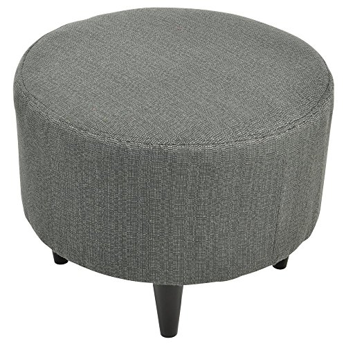 Sole Designs Sophia Collection Round Candice Series Upholstered Ottoman with Espresso Leg Finish, Charcoal