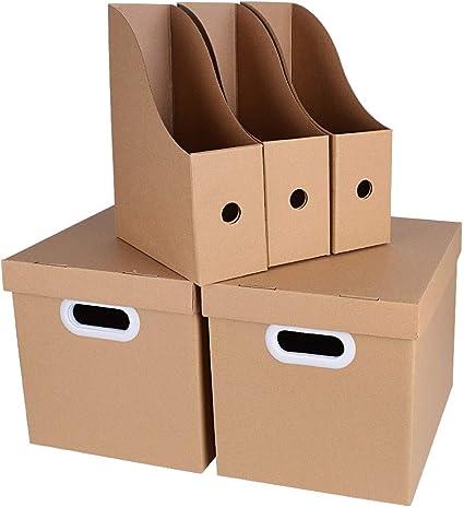 Set 2pcs Cajas de cartón con tapa + 3pcs Revisteros Documentos Papel Kraft Oficina: Amazon.es: Oficina y papelería