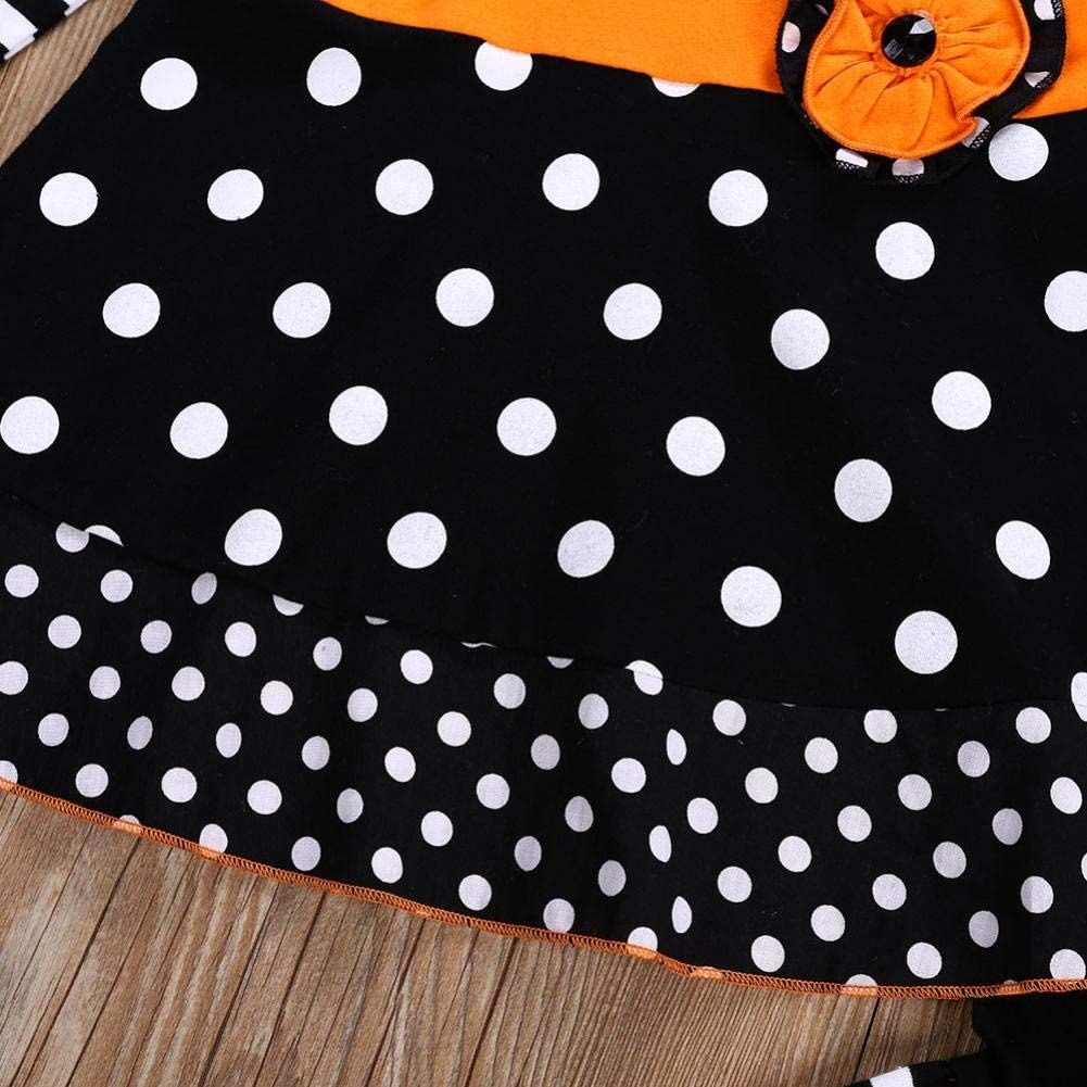 Vinjeely Toddler Baby Girls Clothes Long Sleeve Striped Dot Tops+Flare Pants Halloween Outfits