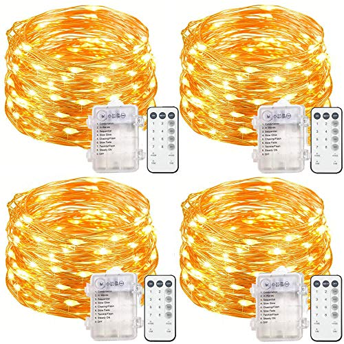 4 Set Fairy Lights Battery Operated String Lights, Upgraded Waterproof 8 Modes 20ft 60 LED Copper Wire Lights with Remote Timer, Twinkle Firefly Lights for Bedroom Wedding Party Decor (Warm White)]()
