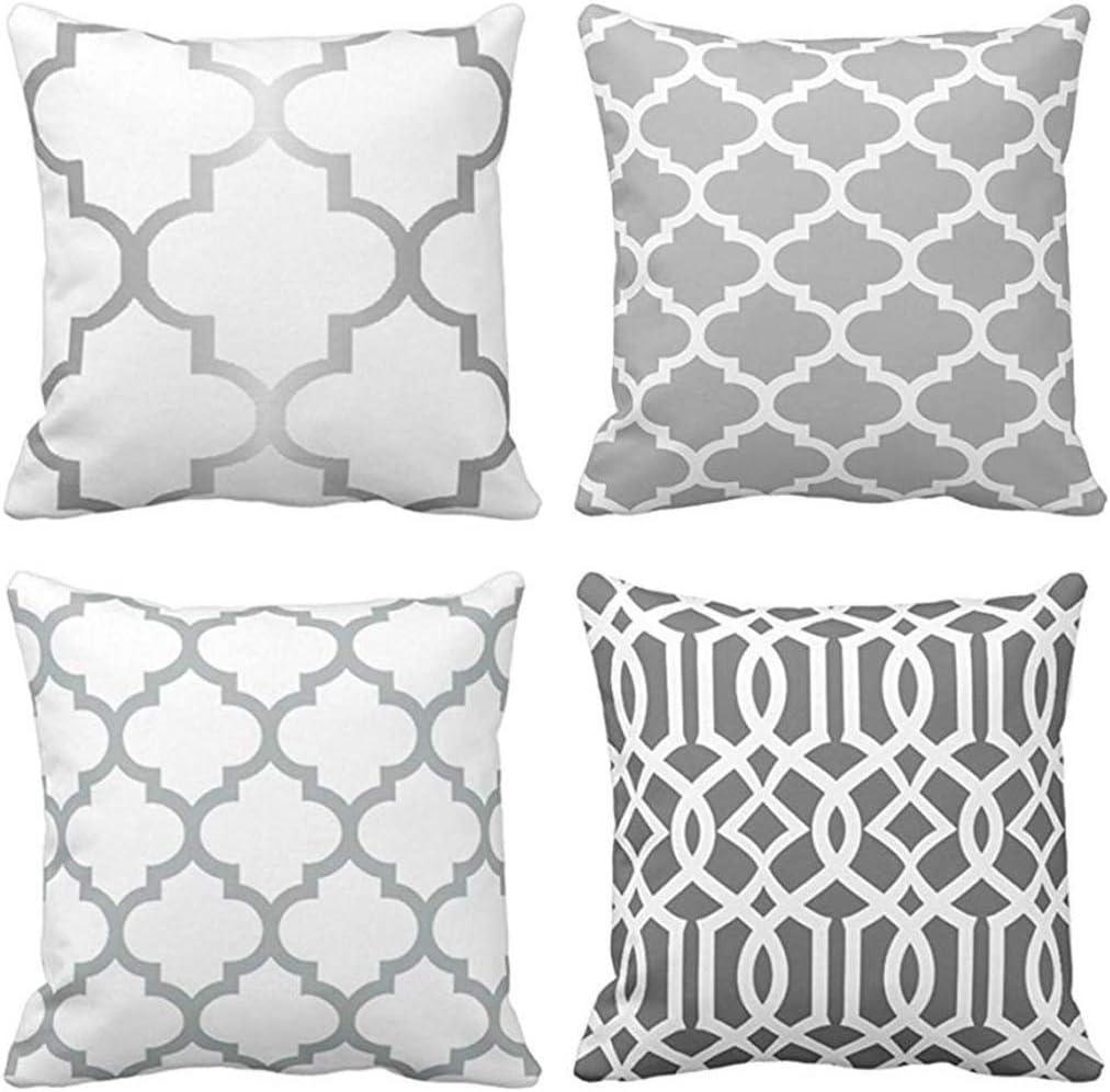 Amazon Com Jbralid Moroccan Quatrefoil Gray White Trellis Silver Large Choose Geometric Pattern Cotton Linen Indoor Decor Throw Pillow Cover Case Set Of 4 24x24 In Home Kitchen
