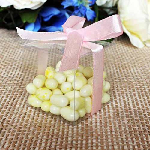 Lot of 50pcs 3x3x3 inches (7.6x7.6x7.6cm) Clear Plastic Candy Gift Boxes Thick PVC Anti Scratch Holiday Wedding Party Favor