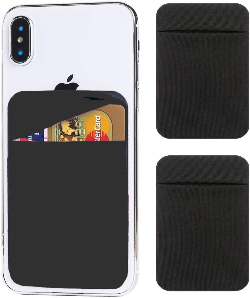 2 Pack Cell Phone Card Holder,Stick-On Wallet(Double Secure for Credit Card&ID) Self Adhesive for Back of iPhone 6/6s/iPhone 7/iPhone 7Plus,Android&Most Smartphones Lycra-Black with top Flap