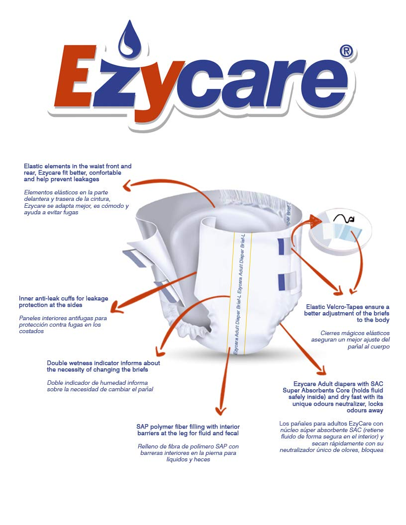 Amazon.com: Ezycare Protective Incontinence Adult Diaper Classic Brief Maximum Absorbency with Adjustable Tabs for Men and Women 10 Count (Medium): Health ...