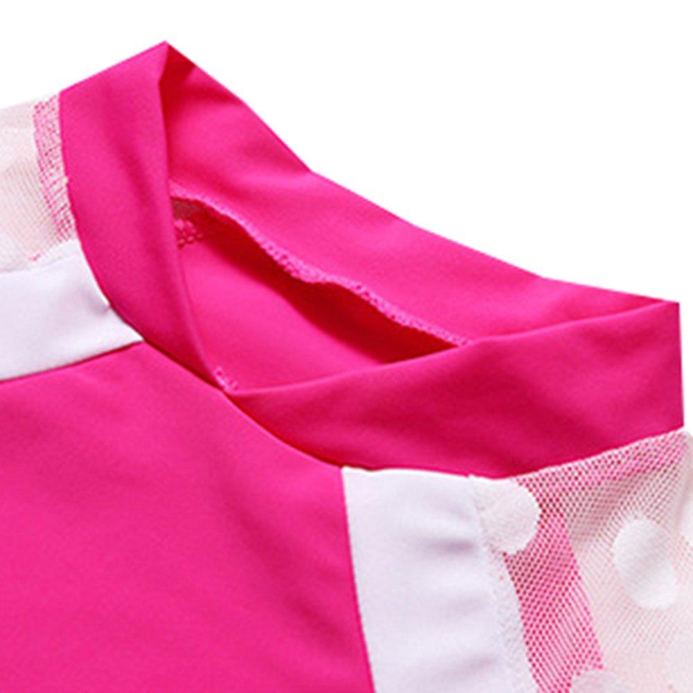 Little Girls Two Pieces Swimsuit Set Big Girls Lace Short Sleeve Bathing Suit Sunsuit Rash Guards UPF 50+