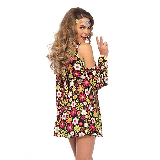 898b868a15f Amazon.com  Women s Hippie Star Flower 60s 70s Floral Dress Outfit Adult  Halloween Costume  Clothing