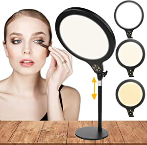 """2020 New Automatically Skin-Beautify 10.2"""" Selfie Light with Aluminum Alloy Stand,Desktop Softbox Adjustable LED Light for iPhone/Android/YouTube/Live Stream/Makeup/Photography Video Fill Light"""