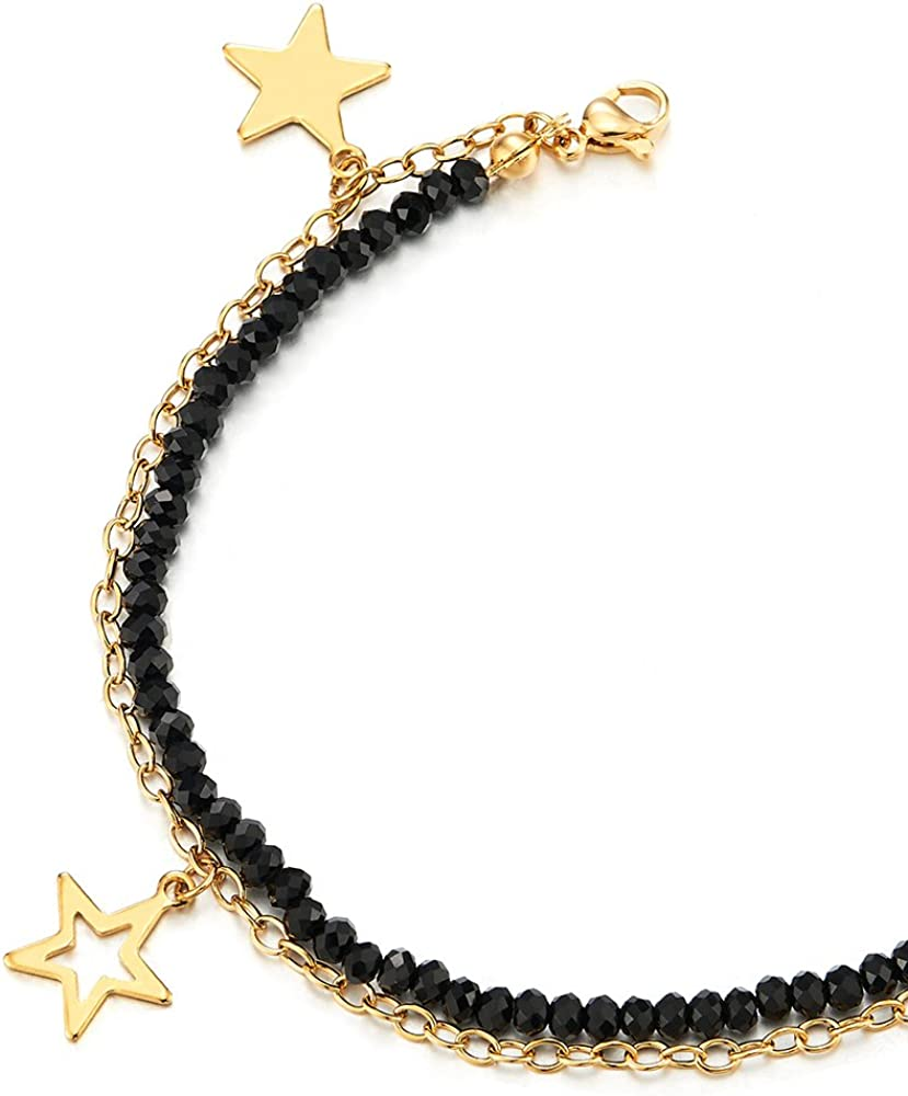 COOLSTEELANDBEYOND Gold Color Steel Black Crystal Beads Chain Two-Row Anklet Bracelet with Pentagram Stars Charms