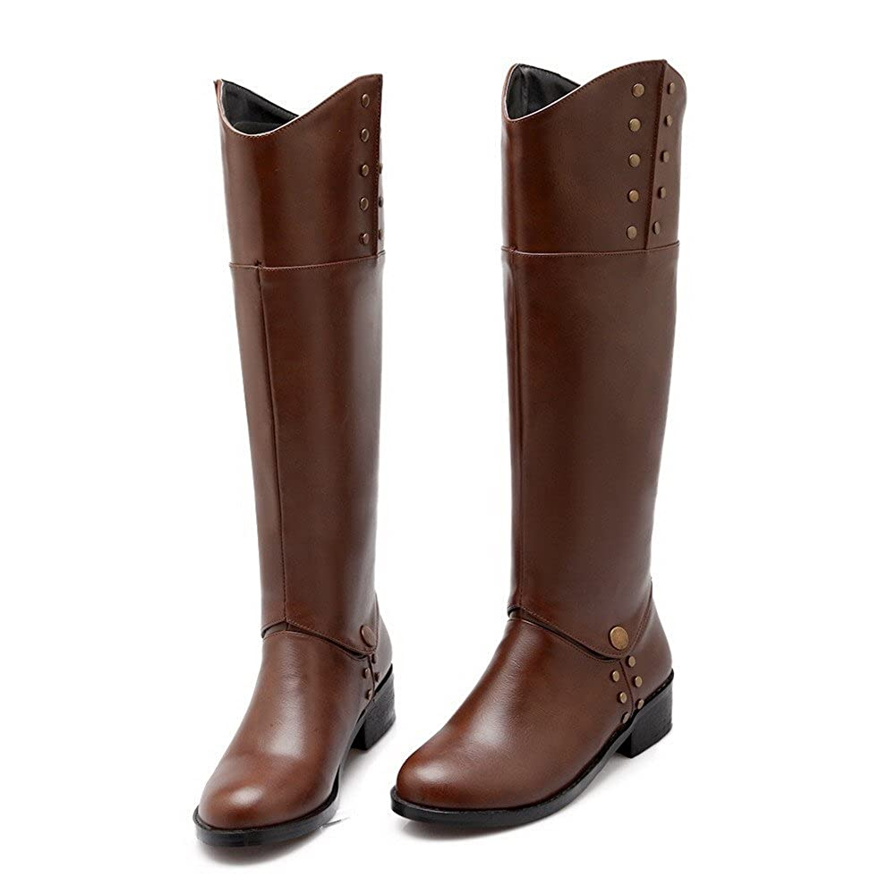 AmoonyFashion Womens Round Closed Toe Blend Materials Knee-high Boots