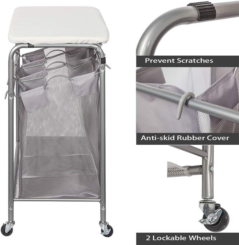 Clasificador de ropa para la colada con 3/cestas y tabla de planchar de sobremesa gris Basics