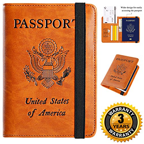 Passport Holder Cover Wallet RFID Blocking Leather Card Case Travel Document Organizer (Earthy Yellow)