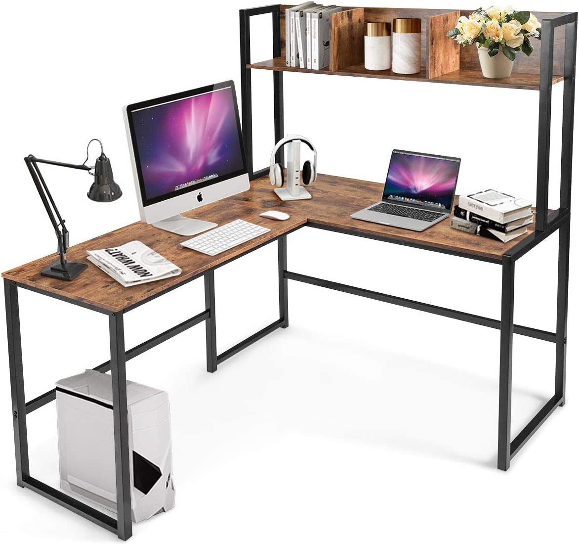 OFM Essentials Collection 2-Drawer Office Desk, in Harvest