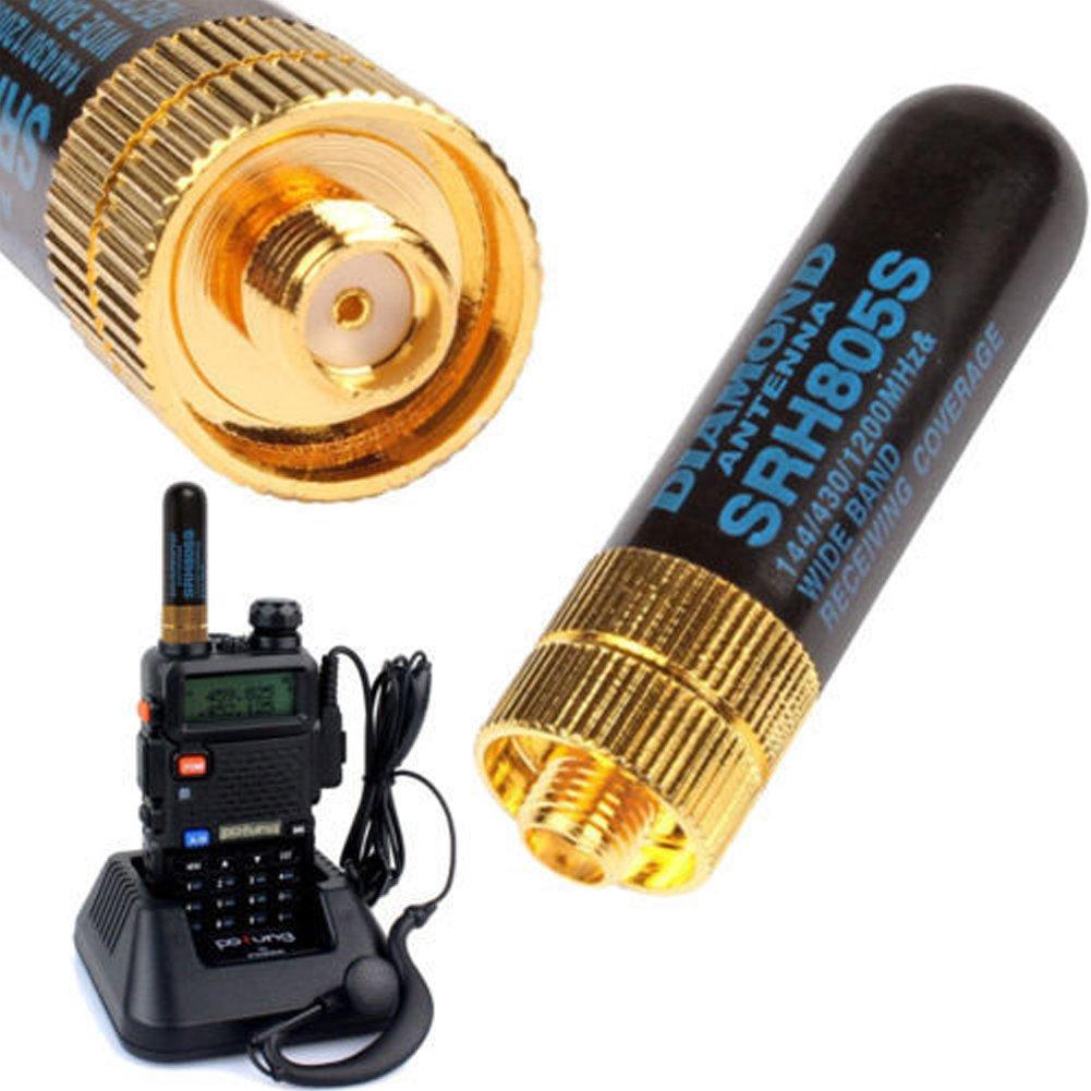 Mioloe SRH-805S Antena de Banda Dual Hembra SMA-F de 4.5CM para Radio Walkie-Talkie UV-5R