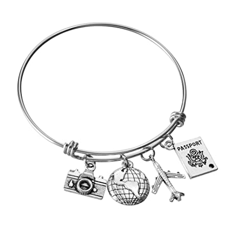 prix incroyable magasin meilleurs vendeurs dégagement Miss Pink Travel Bangle Adjustable Wire Bangle Camera Globe Airplane  Passport Charm Bracelet DIY Handmade Jewelry Gifts for Women