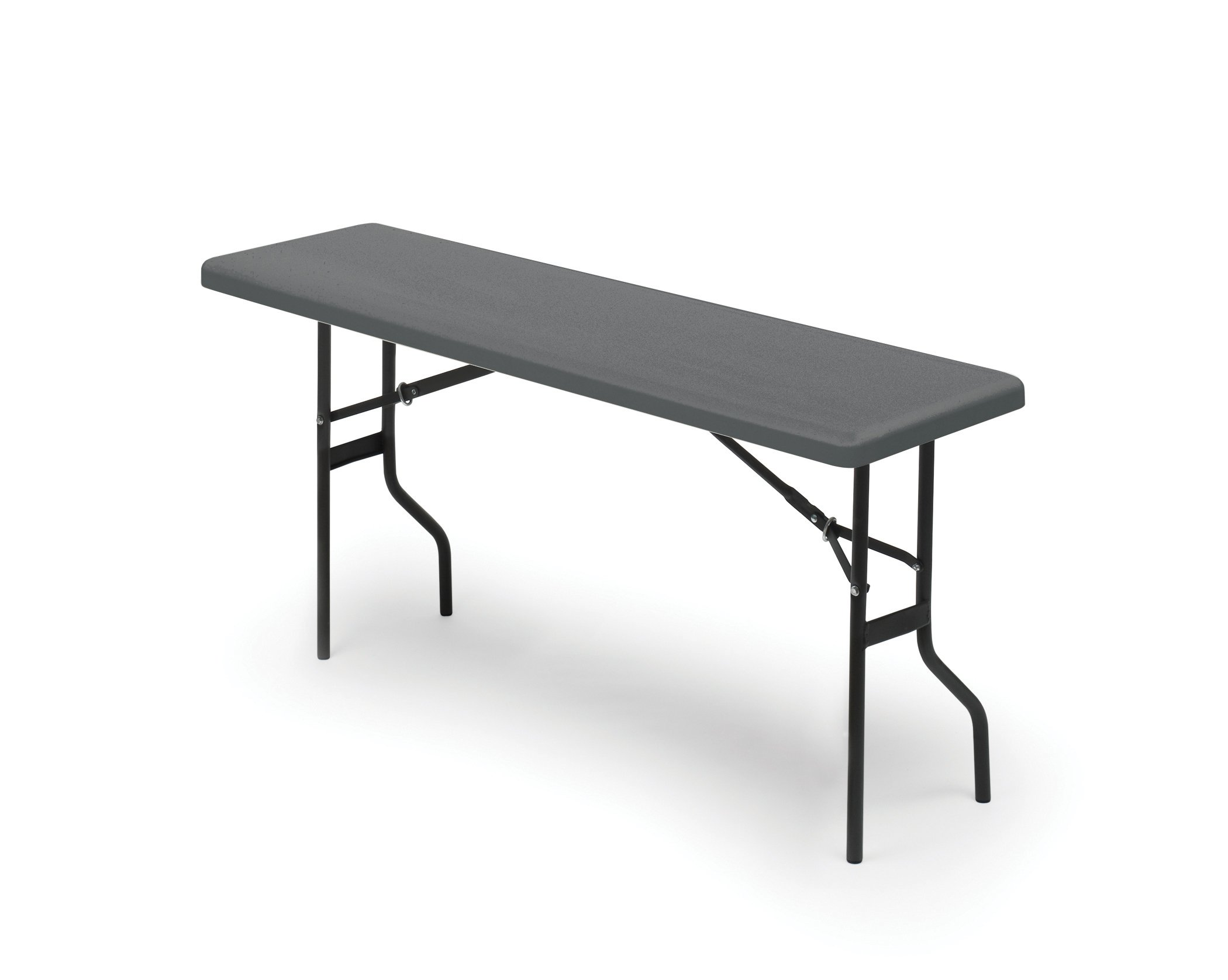 Iceberg 65367 Indestructible 1200 Series Folding Table, 250 lb Capacity, 72'' Length by 18'' Width by 29'' Height, Charcoal