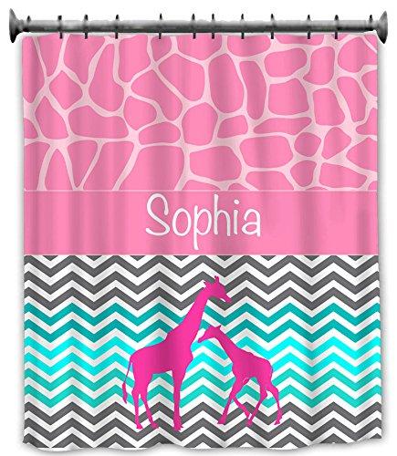 aBaby Custom Giraffe and Chevron Design 1 Shower Curtain, Name Sophia