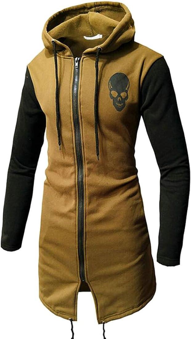 Domple Mens Drawstring Hooded Skull Print Zip-up Loose Sweatshirt Jacket