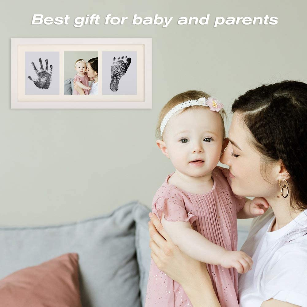 Cerolopy 1 Pack Baby Handprint and Footprint Frame Kit Great Baby Shower For Baby White Baby Prints Photo Baby Memorable Keepsake Frame with Non-Toxic Ink Pad