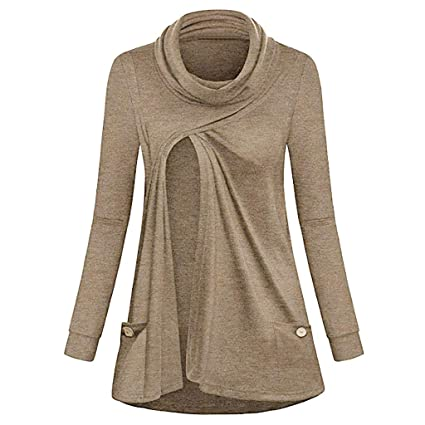 3c7be96fd15ca Nacome Maternity Tops Tees,MOM Nursing Sweatshirts Long Sleeve Layered  Breastfeeding Tunic Tops X-Large Khaki: Amazon.in: Home & Kitchen