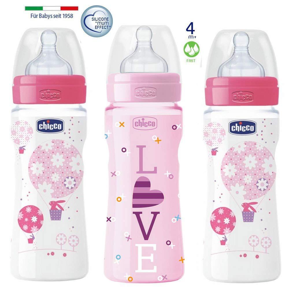 made in Italy Juedo de 3 Girls colours Mix CHICCO biber/ón 330 flujo r/ápido