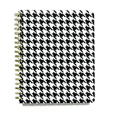 Hounds Tooth Black and White 8 x 10 Inch Wide Rule Spiral Bound Journal Notebook