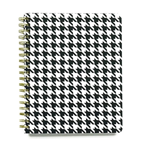 Hounds Tooth Black and White 8 x 10 Inch Wide Rule Spiral Bound Journal Notebook by Mary Square