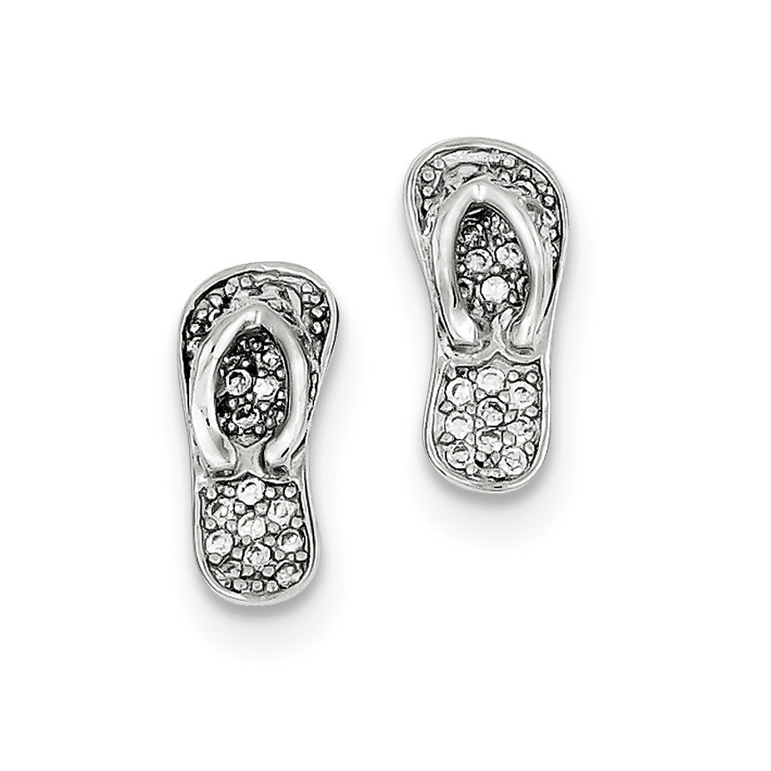 ICE CARATS 925 Sterling Silver Cubic Zirconia Cz Flip Flops Post Stud Ball Button Earrings Outdoor Nature Fine Jewelry Ideal Gifts For Women Gift Set From Heart