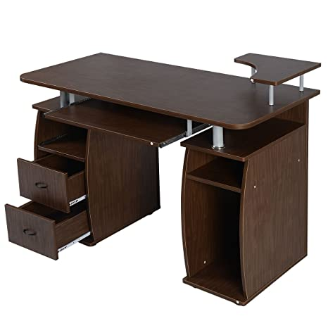 dp computer pc home desk homcom furniture table desktop white drawer office