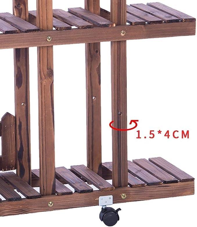 Soporte de exhibición de la flor de la planta de madera resistente, estantes de madera de pino de 5 niveles 12 maceteros / sembradores de almacenamiento en rack Estantería para estantes Patio