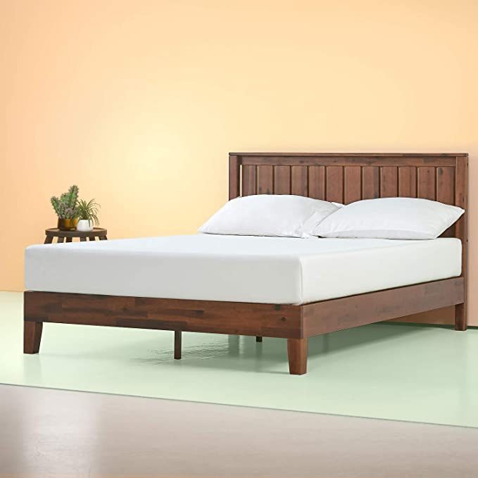 Zinus Vivek 12 Inch Deluxe Wood Platform Bed with Headboard / No Box Spring Needed / Wood Slat Support / Antique Espresso Finish, Queen