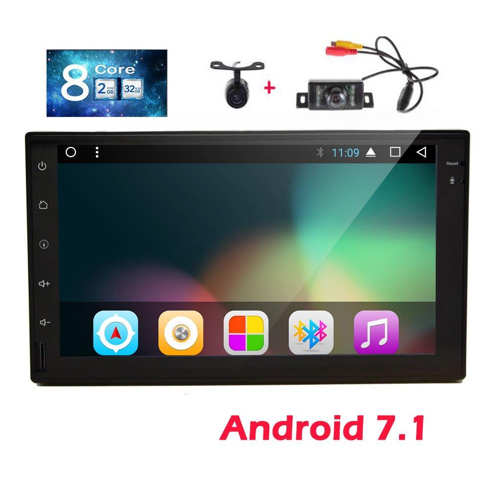 ダッシュGPSナビゲーションフロント&バックアップカメラ7インチのAndroid 7.1システムのカーラジオのステレオとEincar GPSカーステレオは、無線LANのミラーリンクのBluetoothでサポート1080Pビデオプレーヤーを含みます B0778FW7DK
