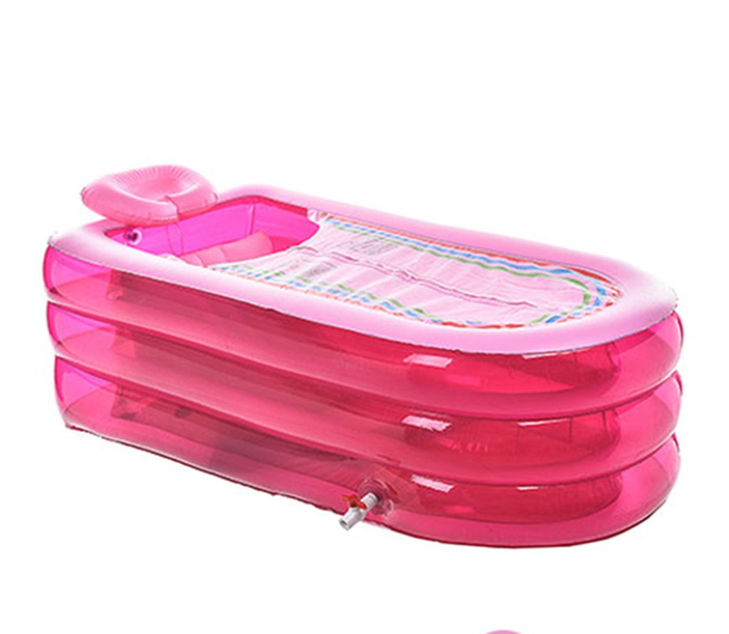 ZHDC® Oversized Lengthened Inflatable Bathtub Thicker Adult Tub Fold Plastic Bath Barrels Pink 4.6 Kg 168  78  45cm Folding, convenient