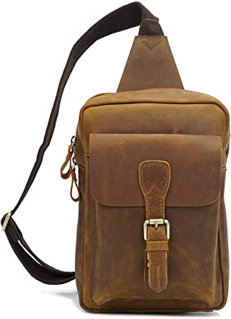 Mens Real Leather Cross Body Flight Backpack Travel Holster Chest Pouch Tan NEW