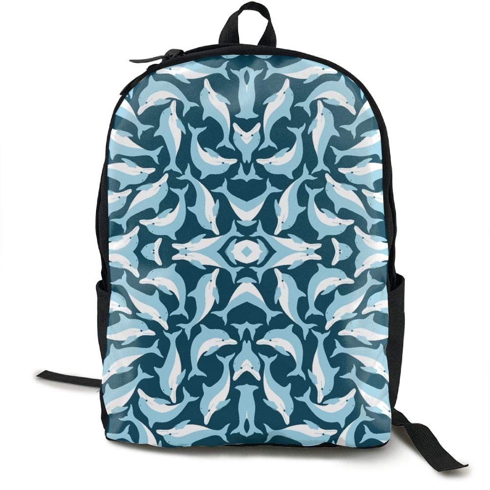 Malsjk8 ブルー ドルフィン 学校 ブックバッグ リュックサック 女の子 旅行 バックパック キャンバス バックパック ショルダー ブックバッグ   B07GBLTGR3