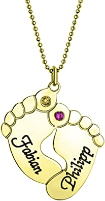 Om in Circle with Clear Crystal Custom Engraved Gold Tone Baby Feet Heart Locket Necklace
