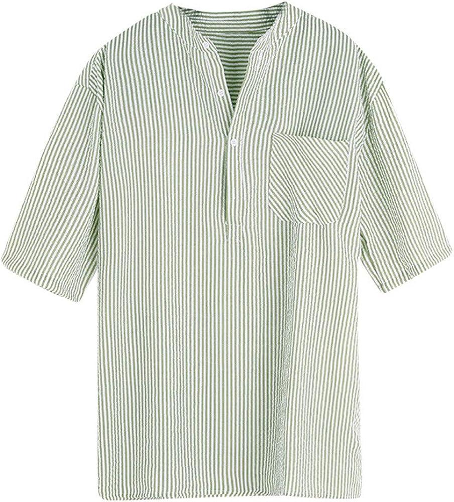 MOTOCO Hombre Camisa de Manga Corta Casual Botón de Rayas Camisa de Manga Corta con Bolsillo Top Blusa(XL, Verde): Amazon.es: Ropa y accesorios