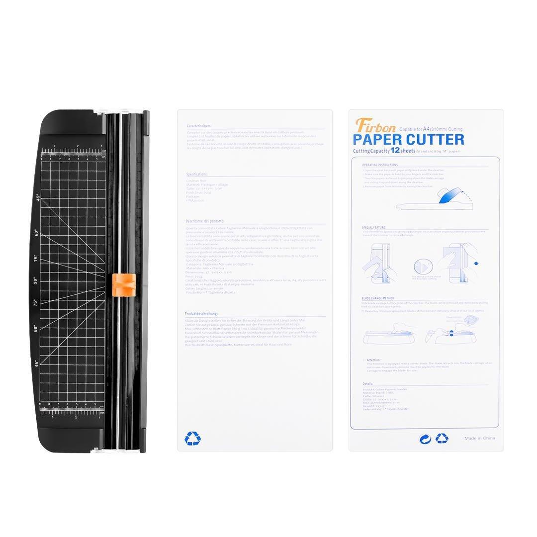 Firbon Taglierina per Carta A4 nero-1 Titanium Scrapbooking 12 Pollici Righello con Sicurezza Automatica Protezione Ghigliottina Per Carta Artigianale Etichetta e Foto