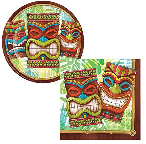 Tiki Plates - Tiki Time Luau Party Supply Pack. Bundle Includes Plates and Napkins for 50 Guests