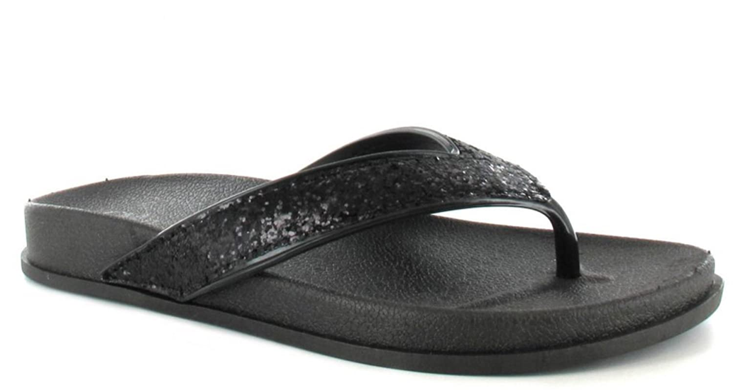 78ae46677 Ladies Womens Ella Slip On Glitter Sparkly Flip Flops Rubber Footbed Toe  Post Thong Summer Sandals Beach Shoes Size (7 UK, Black): Amazon.co.uk:  Shoes & ...