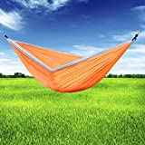 Sujonna Double Camping Hammock Orange & Grey by Portable Lightweight Parachute Nylon Hammocks for Outdoors Backpacking Survival or Travel