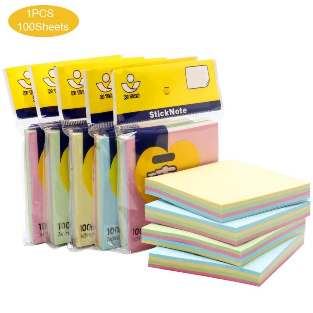 Rikey 100 St/ück Haftnotizen Set Bunte Haftnotizen Pads in verschiedenen Formen f/ür Home Classroom Office