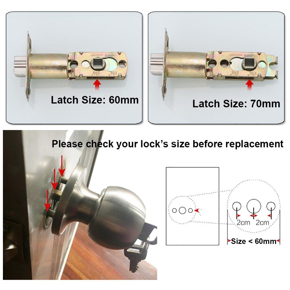70mm Griff Keyed abschlie/ßbar Home B/üro rund verriegelt T/ürknauf 2 X Qrity T/ürknauf mit Schloss//Schl/üssel Verriegelung 60