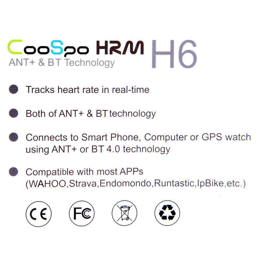 CooSpo, Monitor de Pulso Cardiaco con Bluetooth V4.0, color Negro
