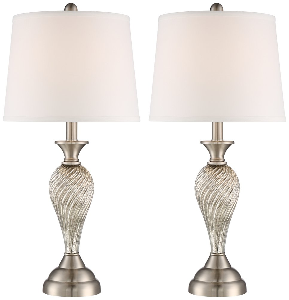Arden brushed steel twist column table lamp set of 2 amazon aloadofball Gallery